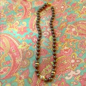 """Good weight black beaded necklace """"16"""